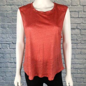 7FAM | Linen Sleeveless Tank Top Coral Red Size M